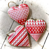 Tin Christmas Heart Shaped Bauble