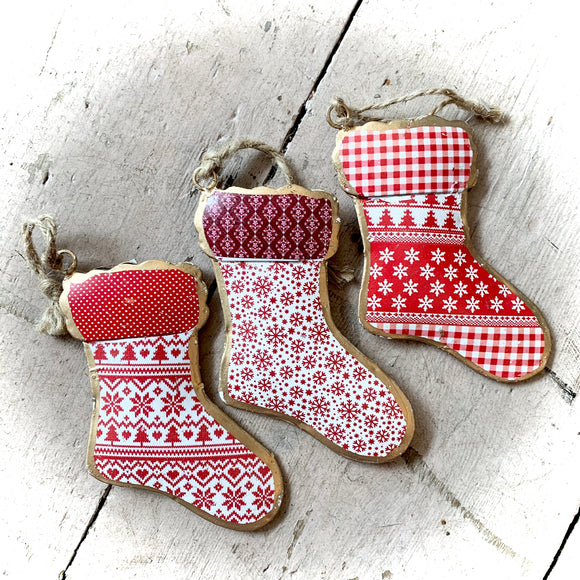 Tin Christmas Stocking Shaped Bauble