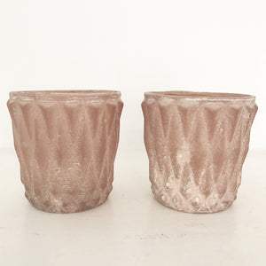 Pale Pink Glass T-light Holders
