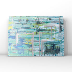 Imagination Turquoise- Original Acrylic Abstract Art On Canvas