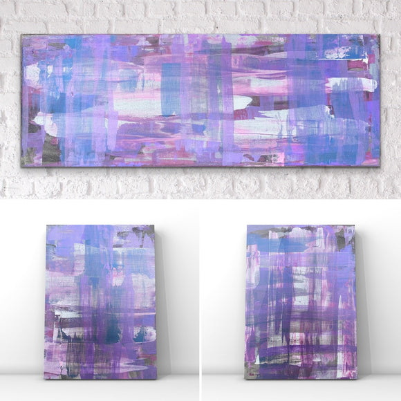 Modern Tartan Lilac- Original Set of 3 Acrylic Abstract Art On Canvas