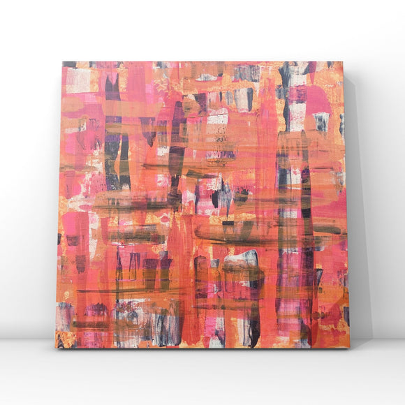 Modern Tartan Pink & Orange- Original Acrylic Abstract Art On Canvas