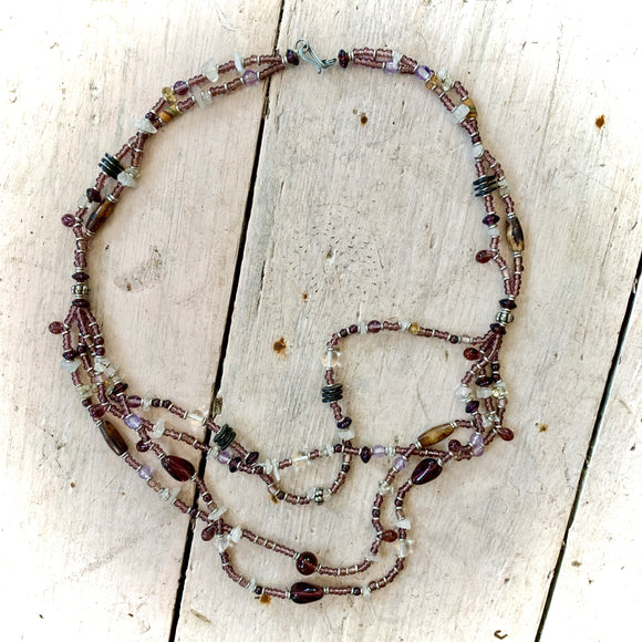 Kenyan Necklace Unusual Purple Bead