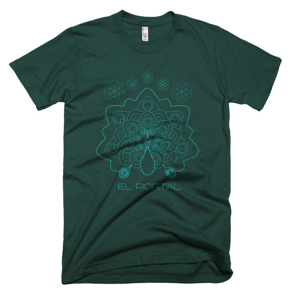 Forest Green T-Shirt for Men El Portal Peacock Mandala