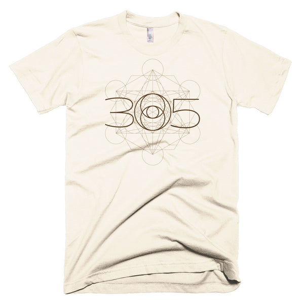 Creme T-Shirt for Men 305 Lens Metatron Sacred Geometry