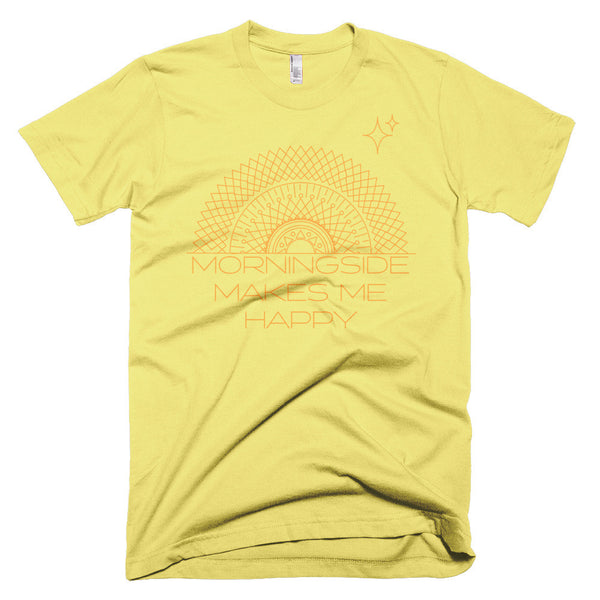 Lemon Yellow T-Shirt for Men Morningside Makes Me Happy Mandala