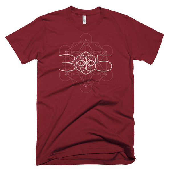 Cranberry Red T-Shirt 305 Genesis Metatron Sacred Geometry for Men
