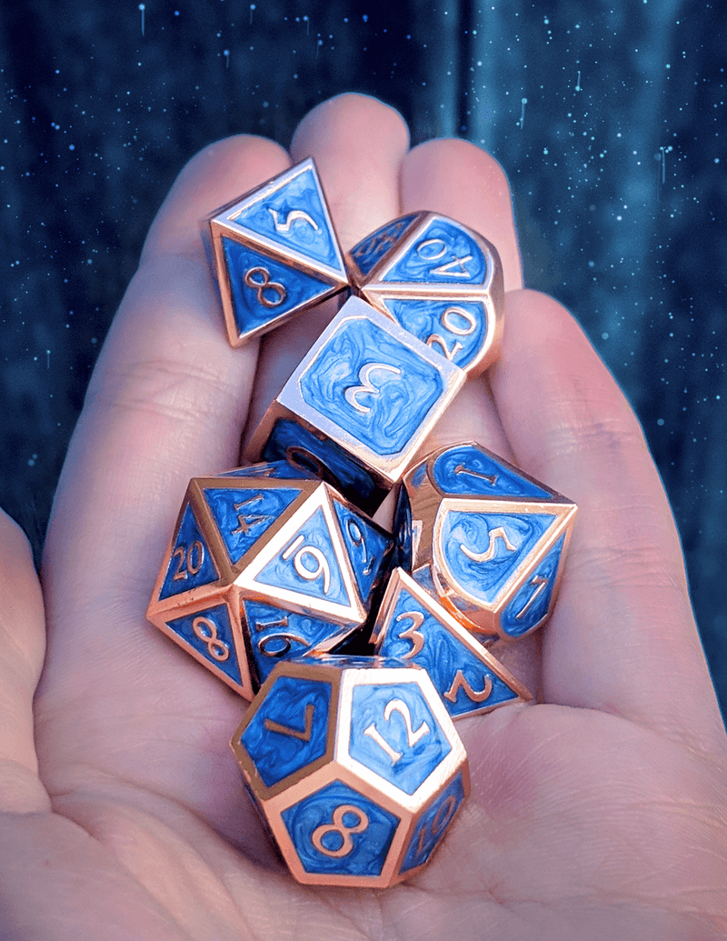 Beautiful dice blue metal