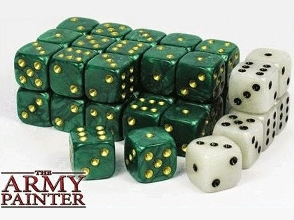 Wargaming Dice Green and White