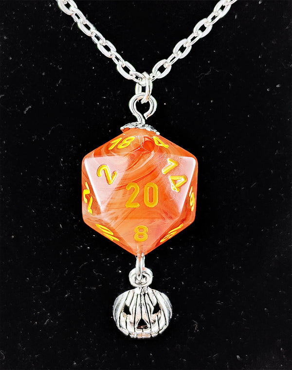 Ghostly Glow d20 Halloween Pumpkin necklace