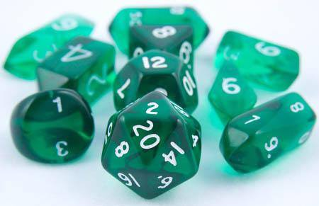 Translucent Hybrid Dice Green