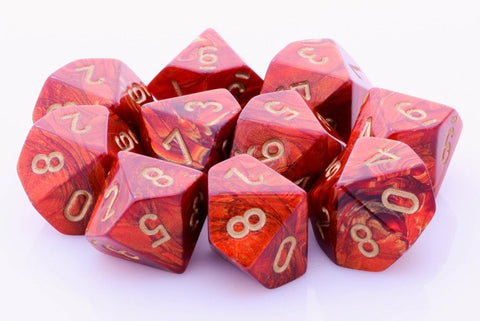 Scarab Dice d10 Scarlet Red