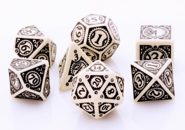 Steampunk Dice Clockwork Beige
