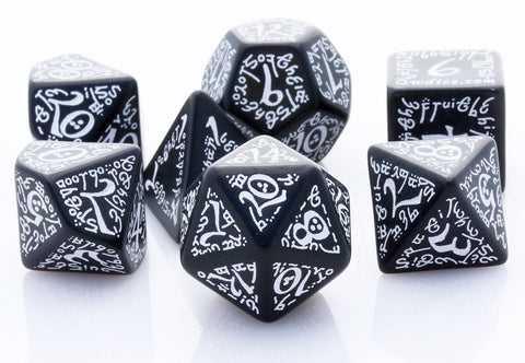 Elven Dice Black White