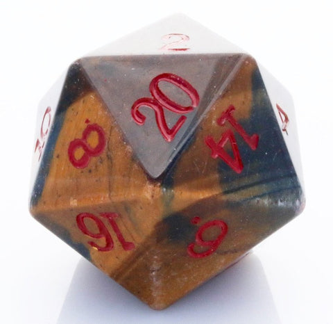 Dwarven Stones D20 Tiger Eye