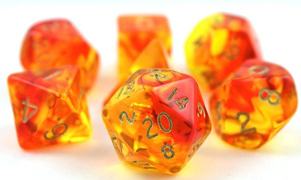Firefly Dice Orange And Red Rpg Role Playing Game Dice Set