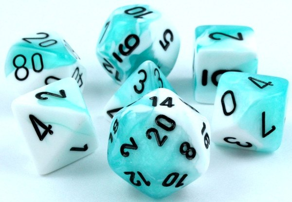 Gemini Dice Teal White