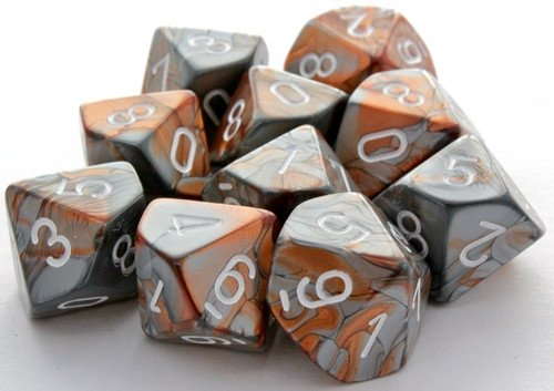 Gemini Dice D10 Copper Steel