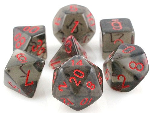 Translucent Dice (Smoke Red) RPG Role Playing Game Dice Set