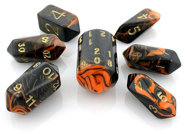 Oblivion Dice Crystal Orange