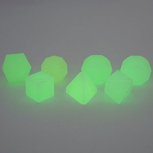 Gamescience Dice (Green Glow) | 7 Piece RPG Precision Dice Set