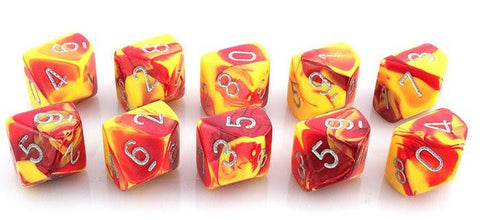 Gemini Dice d10 red yellow