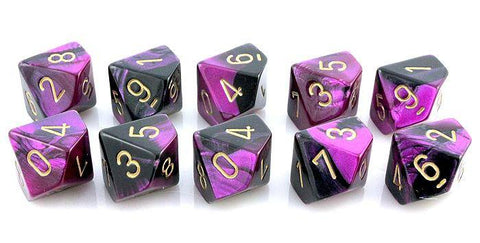 Gemini Dice d10 black purple