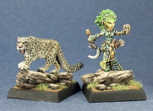 Pathfinder Miniatures Gnome Druid and Familiar 60020  Minis