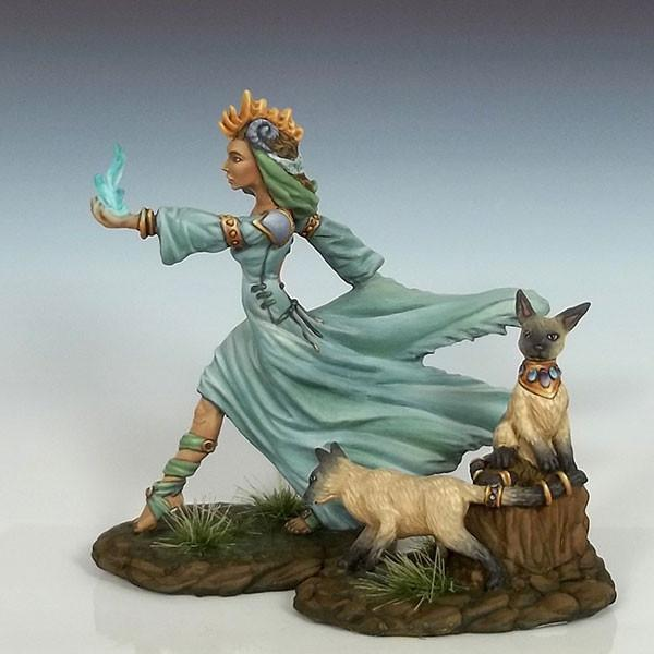 Dark Sword Miniatures DSM7604 Female Mage With Cats