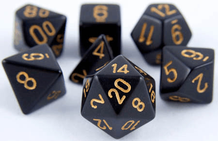 Opaque Dice Black Gold