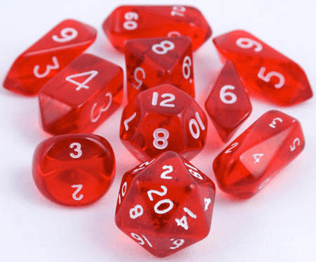 Translucent Hybrid Dice Red