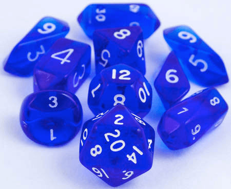 Translucent Hybrid Dice Blue 10pc Rpg Role Playing
