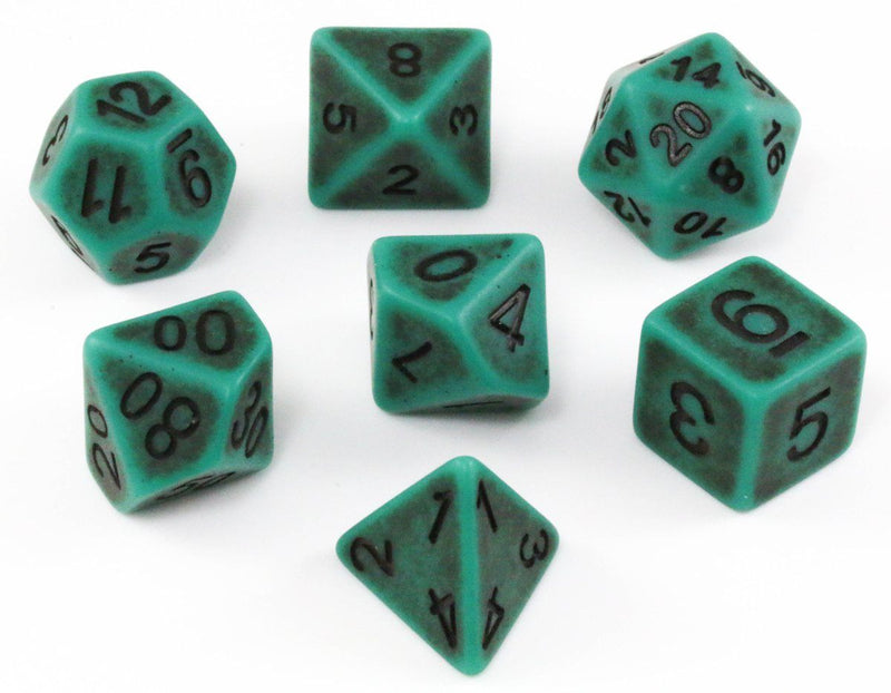Green Ancient D&D Dice