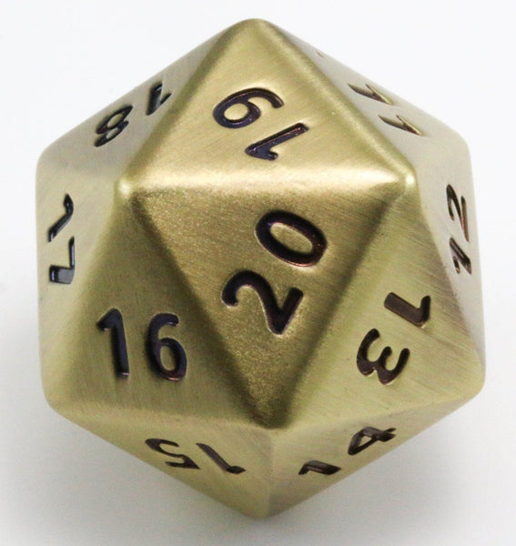 Metal d20 antique gold