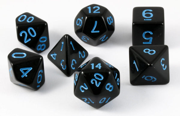 D&D Dice Black Electric Blue