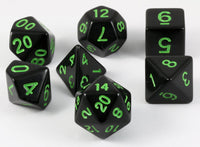 D&D Dice Black Sick Green