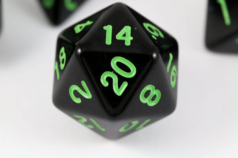 D&D d20 Black Sick Green