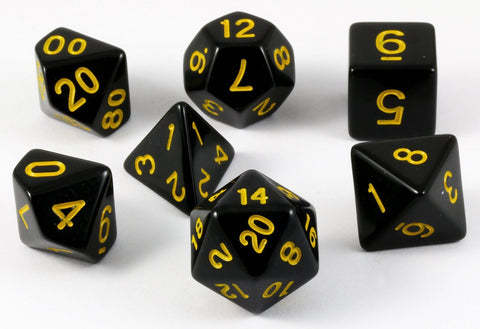 D&D Dice Black Yellow