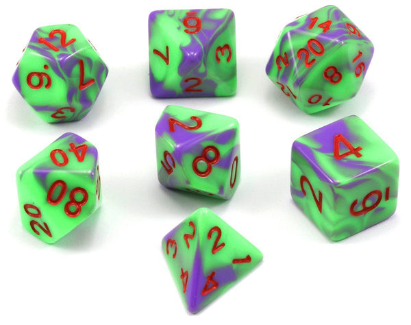D&D Dice Poison Green Puple