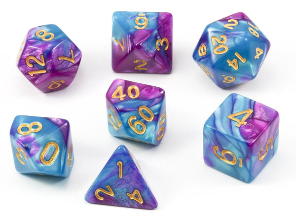 D&D Dice Psionic Teal and Purple