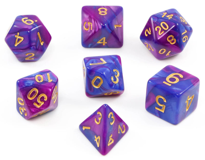 Purple and blue dnd dice