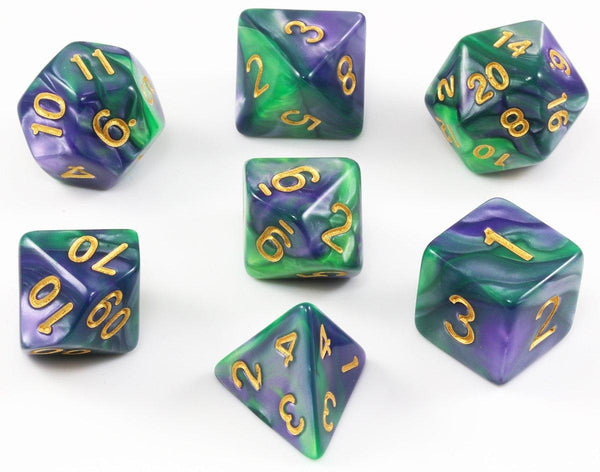 D&D Dice Purple and Green