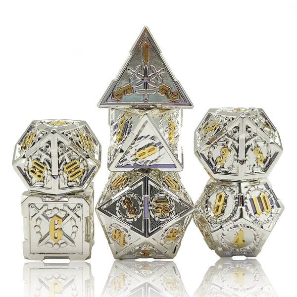 Bright silver and gold dice