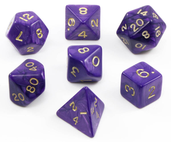 Purple dnd pearl dice