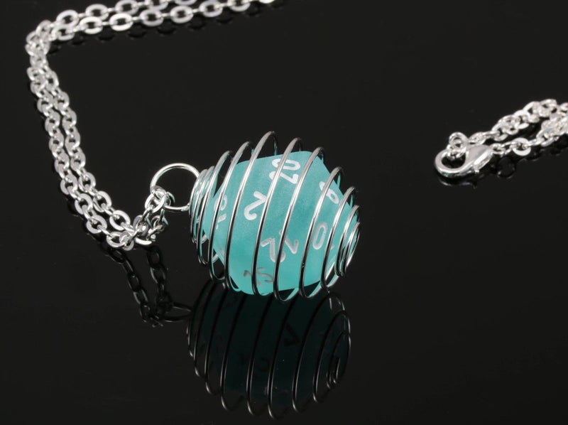 DnD Frosted Teal Dice Jewelry