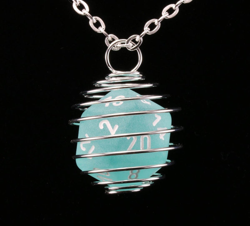 Frosted Teal d20 Necklace
