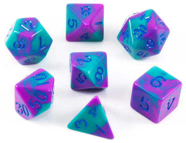 Purple and Teal D&D Dice
