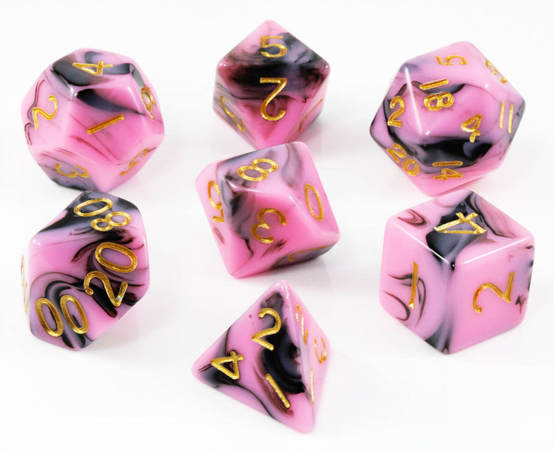 Pink and Black D&D Dice