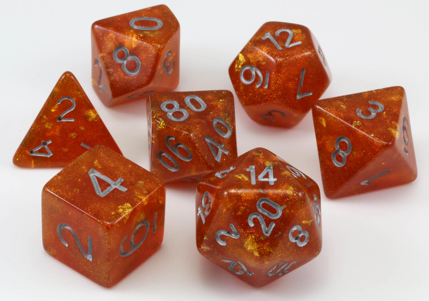 Table Top Gaming Young Metallic Dragon 7 pc dice set dnd dice RPG d/&d Bronze Pearl Effect