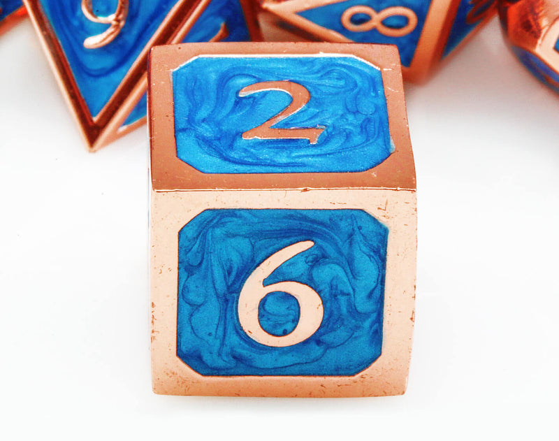Metal d6 dice blue